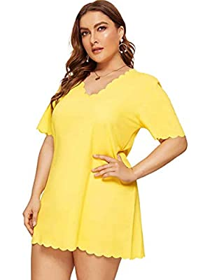 Fabric: This dress made of stretch, breathable and soft material, it is very comfortable to wear Design: Scallop trim, v neck, solid, short sleeve dress for women, very classic and simple design, it's easy to match Occasion: Perfect for party, casual...