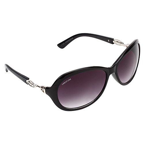 CREATURE Gaga Cat-Eye Oversize Sunglasses For Girls(Lens-Purple||Frame-Black||GAGA-007)