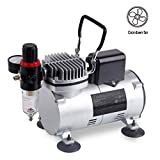 Timbertech Upgraded Basic Airbrush Compressor ABPST07, Quiet Powerful 1/6hp Portable Compressor Airbrushing Paint System with Motor Cool Dawn Fan for Airbrush Paint, Nails, Tattoo,Cake Painting