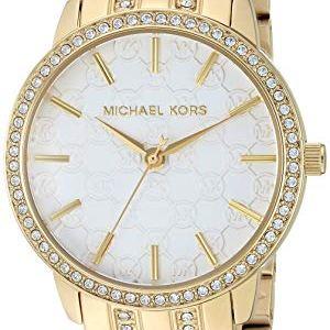 Michael Kors Women's Lady Nini Watch, Three Hand Quartz Movement with Crystal Bezel and White Logo dial