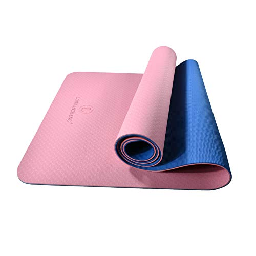 L LONGANCHANG Yoga Mat, TPE Eco Friendly Gym Mat Non Slip Classic Pro Fitness Mat, Exercise Mat for Home Pilates and Gymnastics Women Men, with Carry Strap Bag and Towel, 183 x 61 x 0.6CM, Pink