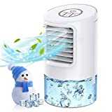 BOYON Portable Air Conditioner Fan, Mini Evaporative Air Cooler, Personal Air Cooler with Timer, Handle, 3 Speeds, 7 Night Lights Desktop Cooling Fan for Room, Home, Office
