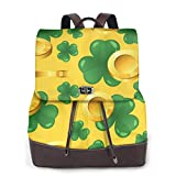Yuanmeiju Womens Backpack Purse St. Patrick's Day Golden Coins Shoulder Schoolbag Leather Casual Bag Girls