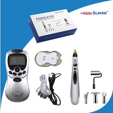 PAINSLAYER Acupuncture Pen with 5 Massage Heads PLUS Massage Therapy Machine Function Energy Pain Therapy Relief, 2 DEVICES IN ONE BOX