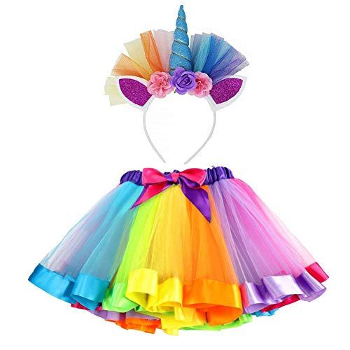 VAMEI Disfraz de Unicornio para Niñas Diadema Unicornio Floral con Oreja y Falda Tutú de Arco Iris Disfraz para Fiesta Púrpura(Azul)