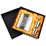 Gaocunh Flasque Alcool 7 oz /198 ML Flasque Hip Flask en Acier Inoxydable Argent, avec 2 pcs Tasses et 1pcs Entonnoir en Acier Inoxydable pour Voyage, Pêche , pour Stocker du Whisky ou de l'alcool