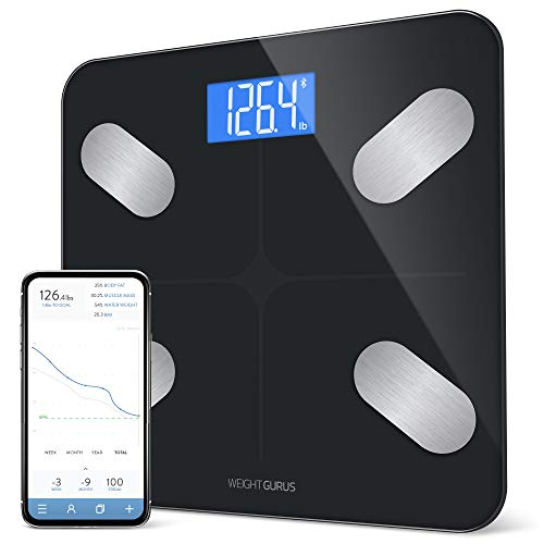 GreaterGoods Smart Scale, Bluetooth Connected Body Weight Bathroom Scale, BMI, Body Fat, Muscle Mass, Water Weight, FSA HSA Approved (Black)