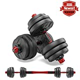 shanchar Adjustable Weights Dumbbells Set,Free Weights Dumbbells Set for Men and Women with Connecting Rod Can Be Used As Barbell for Home Gym Work Out Training 20KG/44Lbs (Black,22lb×2)