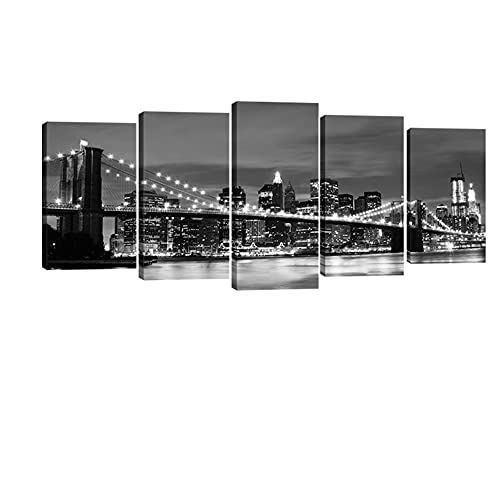 Wieco Art New York Brooklyn Bridge Canvas Wall Art Night View 5...