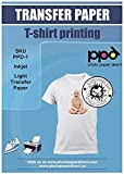 PPD A4 x 10 Blatt PREMIUM Inkjet T-Shirt Transferpapier für alle Tintenstrahldrucker - TRANSPARENTE Transferfolie speziell für helle Textilien und geeignet für Bügeleisen und Thermopresse - PPD-1-10