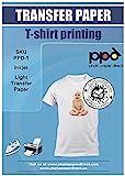 PPD A4 x 10 Papiers Transfert Tee-Shirt / Textiles Blancs ou Clairs, Fond...