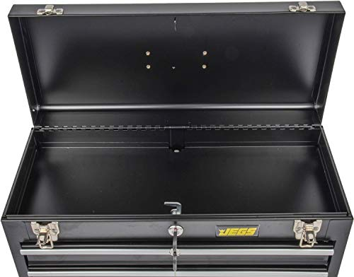 Product Image 3: JEGS 3-Drawer Portable Toolbox   Ball-Bearing Drawer Slides   Rust-Resistant Latches   Black Powder Coat Finish   Includes Lock and Keys