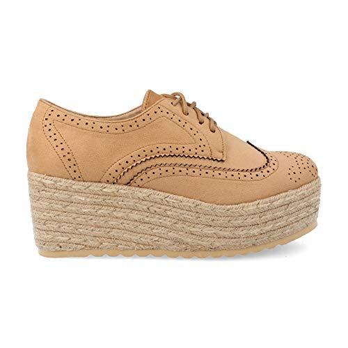 Zapatos Mujer Plataforma en Yute Tipo Oxford con Perforados Primavera Verano 2019. Talla 40 Camel