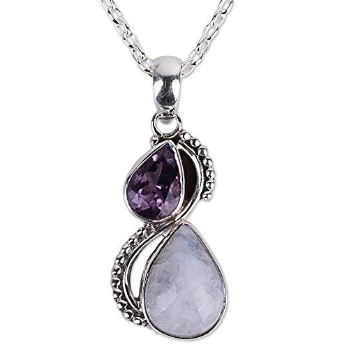 NOVICA Amethyst Rainbow Moonstone .925 Sterling Silver...