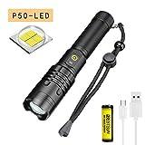 LUXNOVAQ Lampe torche puissante rechargeable à LED P50 6000 lumens zoomable USB Lampe torche tactique portable étanche avec batterie et 3 modes pour le camping en plein air