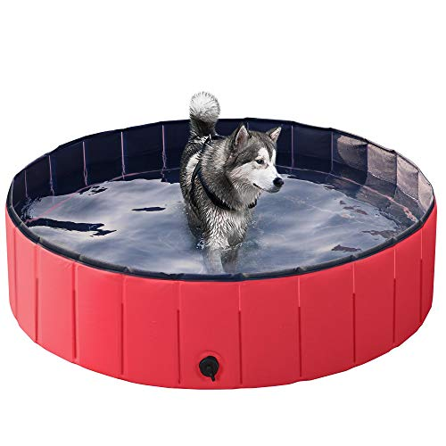 Yaheetech Hundepool Doggy Pool Haustierpool Katzenpool Schwimmbad Wasserbad PVC-rutschfest mit Ablassventil 120x30 cm