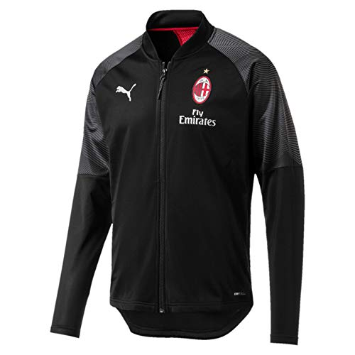 Puma AC Milan Stadium Poly Sponsor Logo with Zipped P, Giacca Tuta Uomo, Nero Black/Tango Red, S