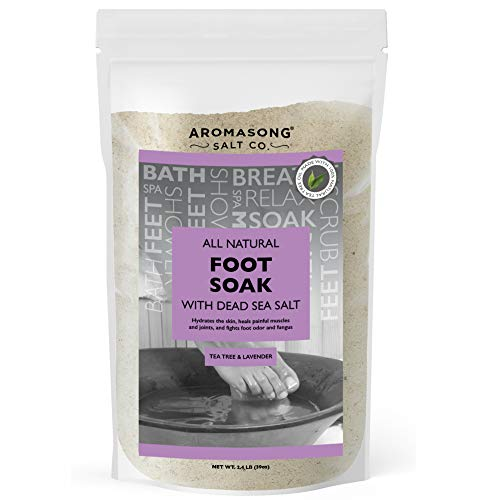 Tea Tree Foot Soak with Raw Dead Sea Salt and 100% Natural Tea Tree Oil & Lavender, Softening Pedicure Soak for Dry Skin & Toenail, Fights Odor & Fungus, Athletes Foot Soaking Treatment Women & Men.