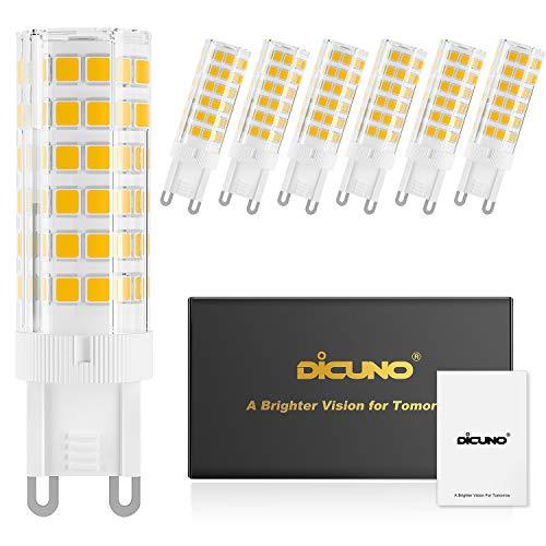 DiCUNO G9 6W Dimmerabile LED lampadina, Sostituire lampada alogena da 60 W, 220-240V, Bianco caldo 3000K, 550LM, Risparmio energetico, angolo del fascio di 360 , Confezione da 6