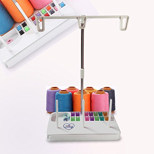 HONEYSEW Embroidery Thread Spool Holder Stand Sewing Machine Accessories Three Spool Thread Stand White Blue Pink Three Color for Choose (White)