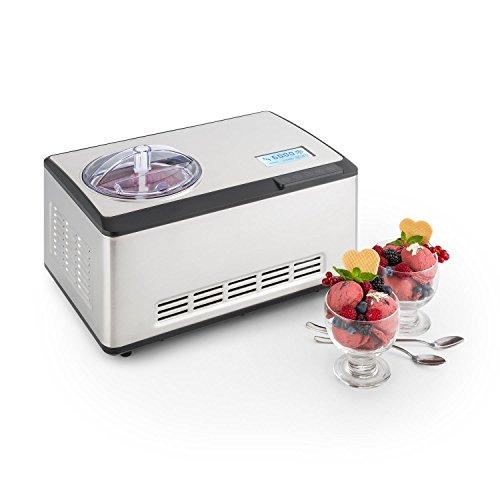 Klarstein Dolce Bacio Eiscremebereiter Kompressions-Eismaschine Eismaschine auch für Sorbet, Frozen Yogurt (2 Liter, 180 Watt, Timer, LCD-Display, Touch, Kühlfunktion, Edelstahl) silber