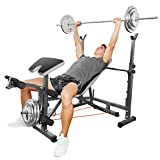 Hicient Olympic Weight Bench for Full Body Workout, Multifunctional Adjustable Weight Bench for Indoor Gym Home Fitness Exercise(Black)