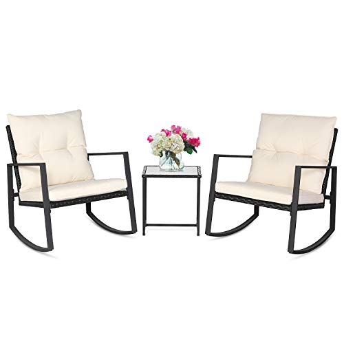 SUNCROWN Outdoor 3-Piece Rocking Bistro Set: Black Wicker Furniture-Two Chairs with Glass Coffee Table (Beige Cushion)