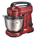 Hamilton Beach Electric Stand Mixer, 4 Quarts, 7 Speeds with Whisk, Dough Hook, Flat Beater Attachments, Splash Guard, Red (63395)