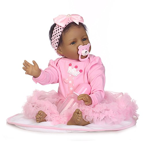 TERABITHIA 21 inch Real Life Black African American Smiling Reborn Baby Girl Dolls That Looks Real with Magnetic Mouth