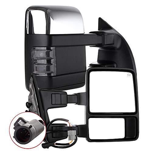 AUTOMUTO Towing Mirror Left and Right Tow Mirrors Power Adjusted Chrome Heated Turn Signal Light Fit Compatible with 1999-2007 For Ford F250/F350/F450/F550 Super Duty