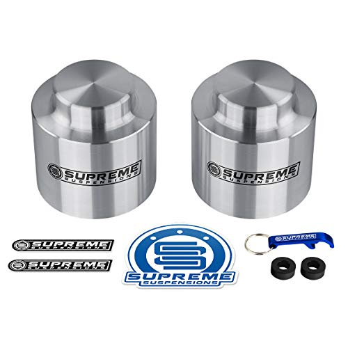 Supreme Suspensions - Rear Leveling Kit for Chevrolet Avalanche 1500, Suburban 1500 and Tahoe 3' Rear Lift T9 Aircraft Billet Aluminum Coil Spring Spacers 2WD 4WD (Silver)