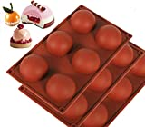 WANLING 6 Holes-3Pack Silicone Mold For Chocolate, Cake, Jelly, Pudding, Handmade Soap, Round Shape BPA Free Cupcake Baking Pan