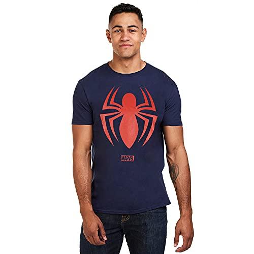 Marvel Spiderman Logo T-Shirt, Navy, Medium for Men