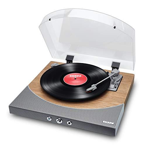 ION Audio Premier LP – Platine vinyle Bluetooth, avec 3 vitesses et enceintes stéréo, sortie USB pour convertir des vinyles aux formats numériques, sortie RCA, sortie casques, Finition bois naturel