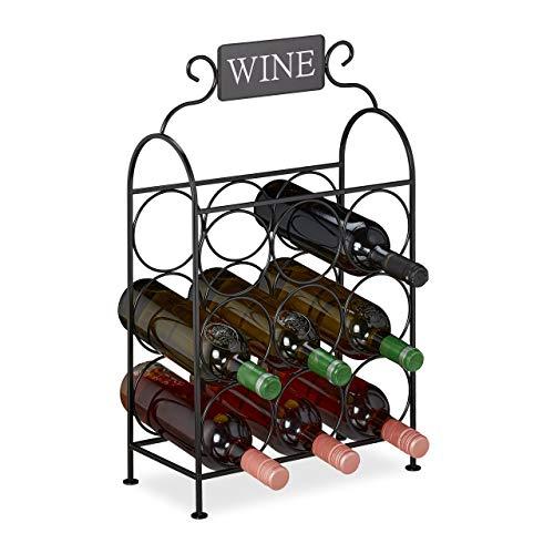 Relaxdays Portabottiglie, 9 Bottiglie, Cantinetta Decorativa per Cucina e Salotto, Metallo, HLP: 55 x 34 x 17,5 cm, Nero