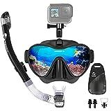TAWAK Masque de Plongée avec Tuba, Masque Snorkeling Réglable ProfessionnelMasque Snorkel avec Support pour Caméra Sport Détachable Adapté pour Adulte et Jeunesse, Anti-Buée et Anti-Fuite