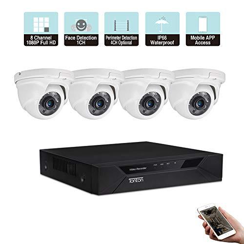 Tonton CCTV 8CH 1080P HD TVI DVR Sistema di Sorveglianza con 4 Dome 1080P Video Telecamera di Sorveglianza Set senza HDD per interni ed esterni, 20 m IR Visione Notturna, Movimento Allarme