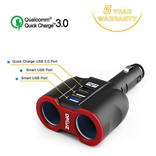 QC3.0 Smart Car Charger, 2 Socket + 3 USB (2xSmart USB Port & 1xQC3.0 USB Port) Multifunction Car...