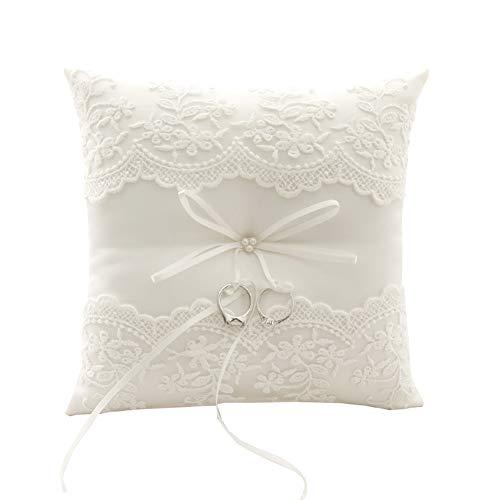 BETAULIFE Wedding Ring Pillow, Ivory Ring Bearer Pillow,Ring...