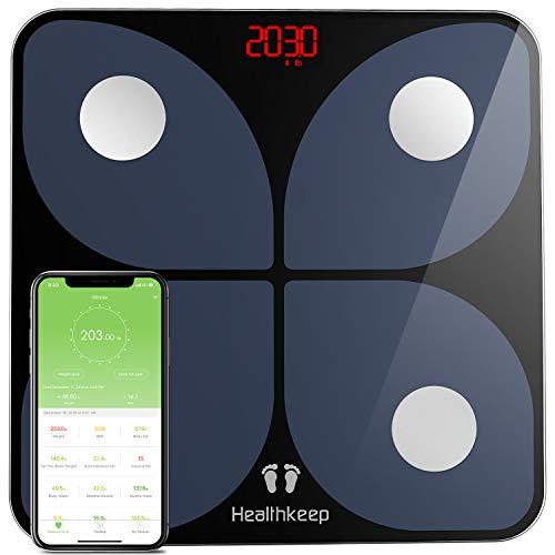 Body Weight Scale, Bluetooth Digital BMI Bathroom Scale Smart Wireless Fat Weighing Scale Body Composition Analyzer 396 lbs Black by Healthkeep