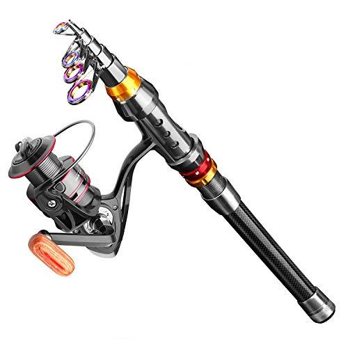 FISHOAKY Kit Canna da Pesca Spinning, 2.1M Fibra di Carbonio Canne Pesca Telescopica con Mulinello Canna Pesca Borsa Altri Pesca Accessori per Acqua Salata & Acqua Dolce | Bambini e Adulti