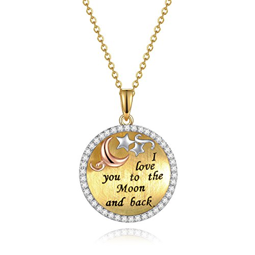 I Love You to The Moon and Back 18K Gold Plated Sterling Silver Heart Pendant Necklace Inspirational Necklace Valentine's Day Gifts For Her Anniversary Gifts for Her Gifts for Wife Girlfriend