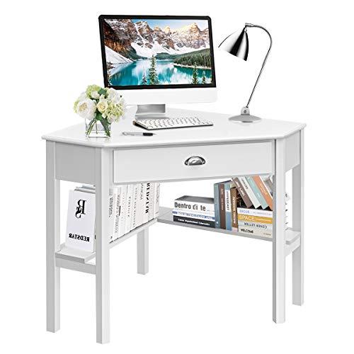 Tangkula White Corner Desk, Corner Computer Desk with Drawer, Wood...