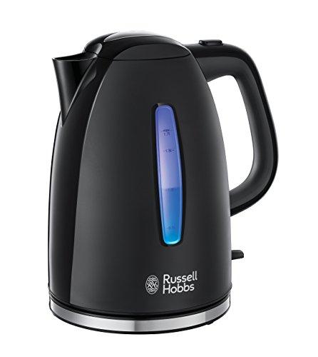 Russell Hobbs Textures Hervidor de Agua Eléctrico - 2400 W, 1,7 litros, Plástico Alto Brillo, sin BPA, Filtro Extraíble, Negro - 22591-70