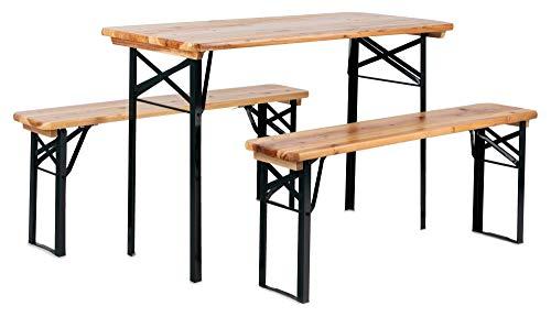 Stagecaptain Hirschgarten Bierzeltgarnitur für Balkon (Kurze Version mit 117 cm Länge, 1x Tisch, 2 x Stühle, Holz, klappbar) Natur