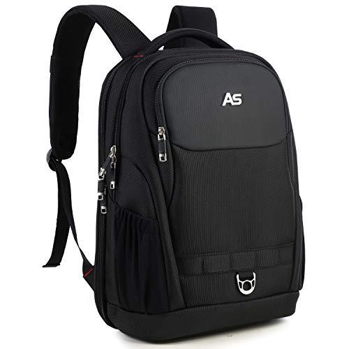AspenSport Laptop Rucksack 180 Grad öffnung 15.6-17.3 Zoll Wasserdicht Business Outdoor Backpack Reiserucksack Schulrucksack rucksäcke Herren Damen Schwarz