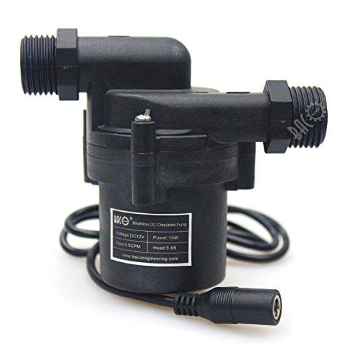 bacoeng DC 12V Pompe de circulation d'eau chaude Pompe de recirculation sur batterie/Panneau solaire 5W 2.2GPM BSP, 15W 3GPM BSP