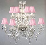 Murano Venetian Style All-Crystal Chandelier with Pink Shades!