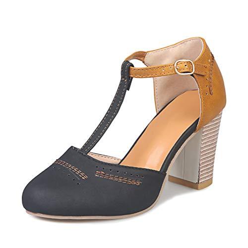 Onsoyours Sandales Femme Cuir Bout Rond Talon Carré Fermé Toe Boucle Respirant Doux Plage Sandales Escarpin Romain Chaussure Noir 40 EU