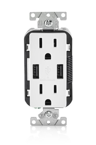 Leviton T5632-W 15-Amp Charger/Tamper Resistant Duplex Receptacle, 1-Pack,...